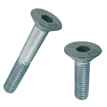 Tornillo din-7991 de cabeza avellanada con hueco hexagonal, de acero (10.9) cincado y rosca métrica.